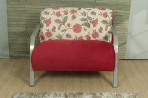 Conjunto Poltronas Vermelho com floral 1,68 cm de Largura Modelo 501