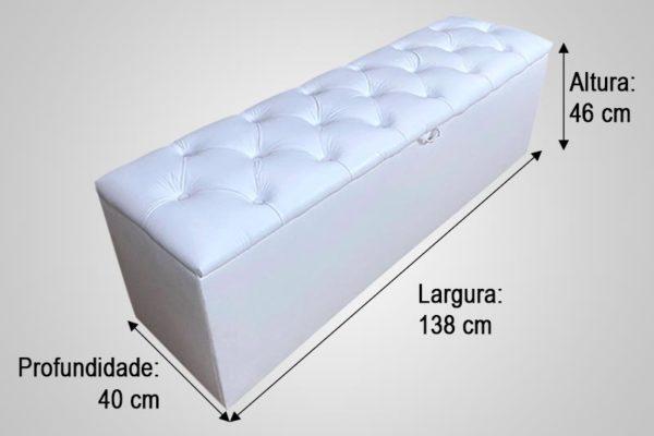 Recamier Casal Branco 138cm de Largura - Modelo Hera Capitonê