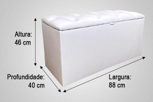 Recamier Solteiro Branco 88cm de Largura - Modelo Hera Capitonê
