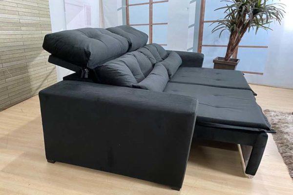 Sofá Retrátil Preto 1.94 m de Largura- Modelo 339 - Bom Preço