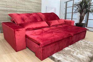 Sofá Retrátil Vermelho 2.10 m de Largura - Modelo Esplendor - Oferta