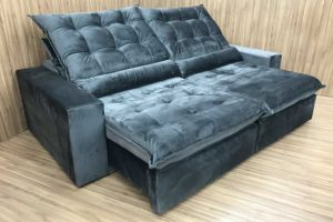 Sofá Retrátil 2.00 m - Modelo Alexandria - Cinza Escuro 330