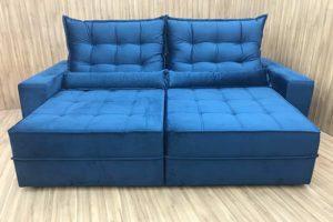 Sofá Retrátil 2.00 m - Modelo Baruqui - Azul 325