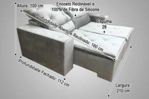 Sofá Retrátil 2.10 m - Modelo Esplendor - Bege 501
