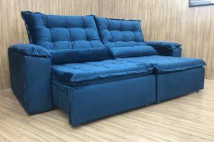 Sofá Retrátil 2.10 m - Modelo Munique - Azul 325