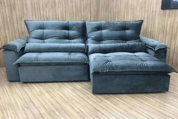 Sofá Retrátil 2.50 m - Modelo Maricá - Cinza Escuro 330