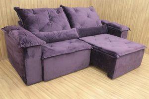 Sofá Retrátil 2.50 m - Modelo Zuqui - Violeta 6
