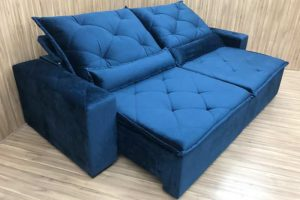 Sofá Retrátil 2.90 m - Modelo Portela - Azul 506