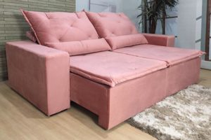 Sofá Retrátil 2.90 m - Modelo Portela - Rosa Escuro 10