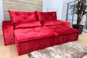 Sofá Retrátil 2.90 m - Modelo Portela - Vermelho 503