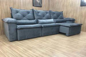 Sofá Retrátil 2.90 m - Modelo Quintela - Cinza 502
