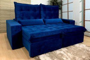 Sofá Retrátil Azul 1.80 m de Largura - Modelo 391