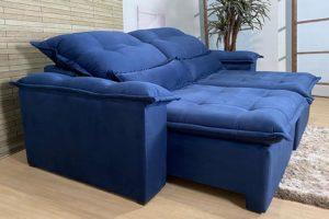 Sofá Retrátil Azul 1.80 m de Largura - Modelo Onix