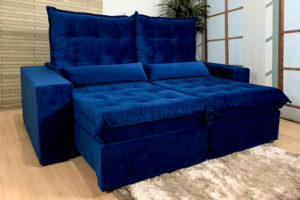 Sofá Retrátil Azul 2.00 m de Largura - Modelo Alexandria