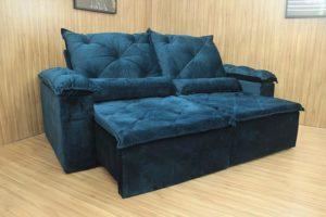 Sofá Retrátil Azul 2.10 m de Largura - Modelo 348