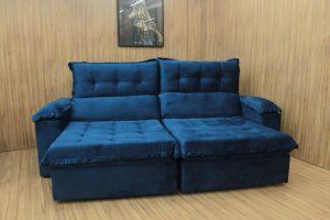 Sofá Retrátil Azul 2.30 m de Largura - Modelo Canada