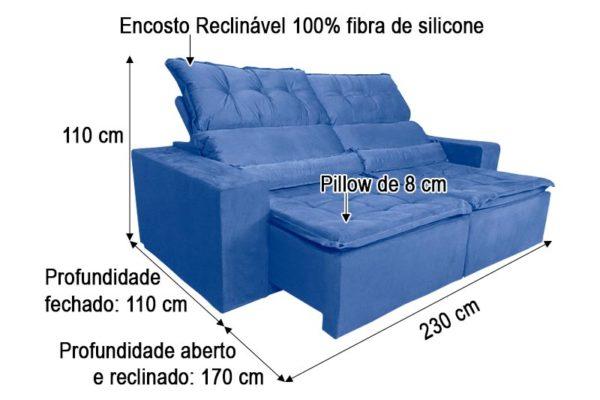 Sofá Retrátil Azul 2.30 m de Largura Modelo 356