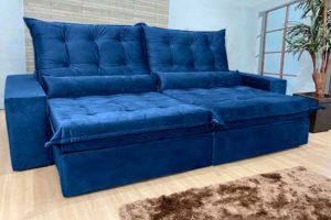 Sofá Retrátil Azul 2.90 m de Largura - Modelo 372
