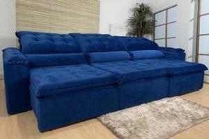 Sofá Retrátil Azul 3.20 m de Largura - Modelo Berlim