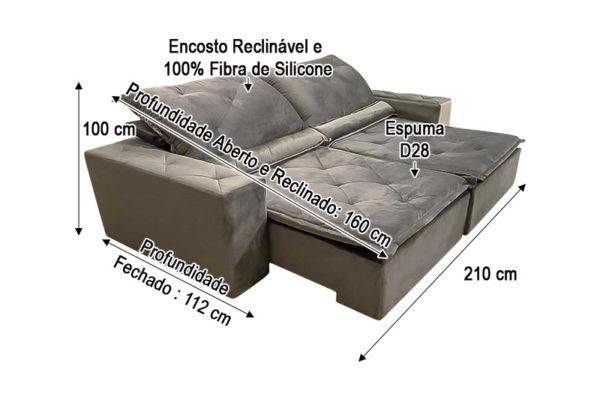 Sofá Retrátil Cinza 2.10 m de Largura - Modelo 334