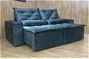 Sofá Retrátil Cinza 2.30 m de Largura - Modelo Ômega