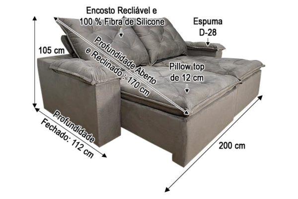 Sofá Retrátil Marrom 2.00 m de largura - Modelo 368