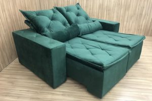 Sofá Retrátil Verde 1.80 m de Largura - Modelo Carioca