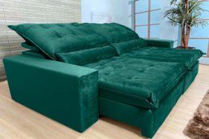 Sofá Retrátil Verde 2.90 m de Largura - Modelo 372