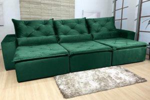 Sofá Retrátil Verde 3.20 m de Largura - Modelo Eros