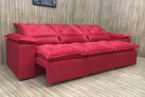 Sofá Retrátil Vermelho 2.70 m de Largura - Modelo Atenas