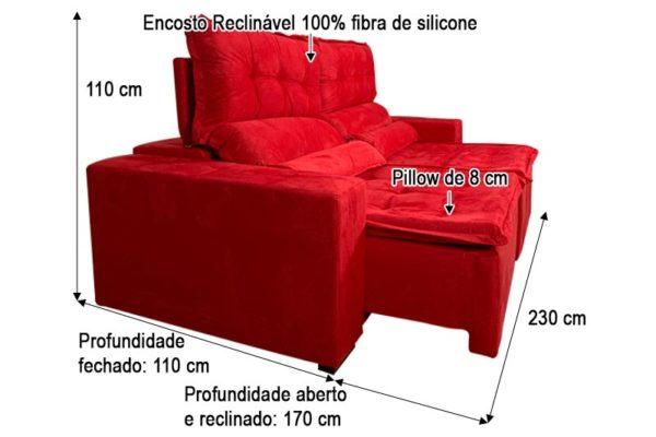 Sofá Retrátil Vermelho 2.30 m de Largura Modelo 356