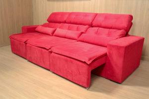 Sofá Retrátil Vermelho 2.70 m de Largura - Modelo Petros