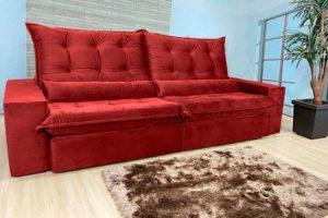 Sofá Retrátil Vermelho 2.90 m de Largura - Modelo Egito