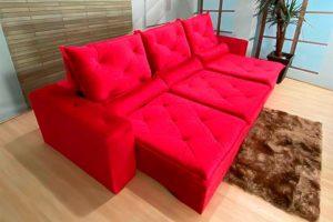 Sofá Retrátil Vermelho 3.20 m de Largura - Modelo Eros