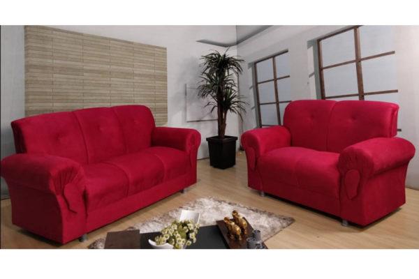 Sofá de 2 e 3 lugares Vermelho - Modelo 010