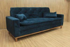 Sofá de 3 Lugares Azul 2,12 m de Largura - Modelo Sofia