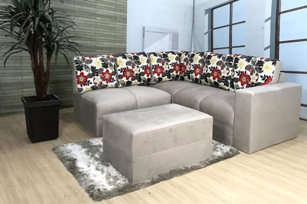Sofa de Canto Bege com Floral Anetho