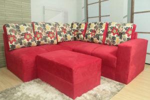 Sofá de Canto Vermelho com Floral – Modelo Anetho