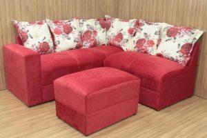 Sofá de Canto Vermelho com Floral - Modelo Meriti