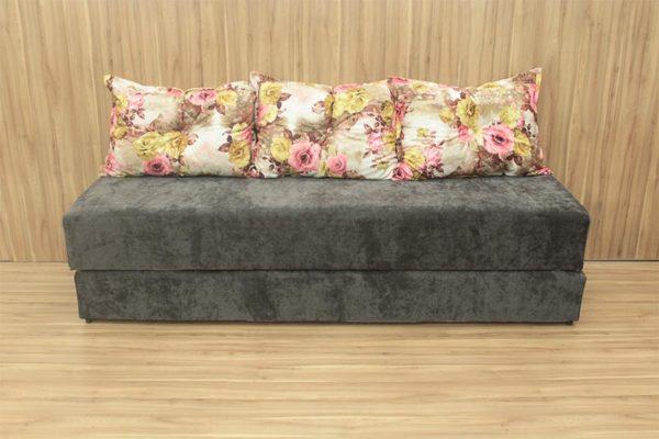 Sofanete Marrom com Floral 1.78 m de Largura - Modelo 3 Lugares