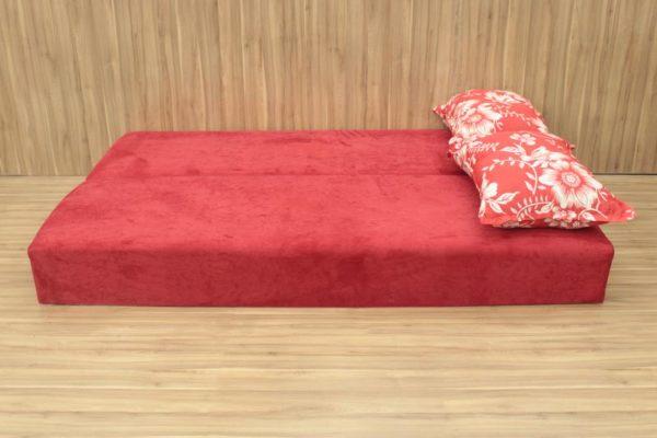 Sofanete Vermelho com Floral 1.78 m de Largura - Modelo 3 Lugares